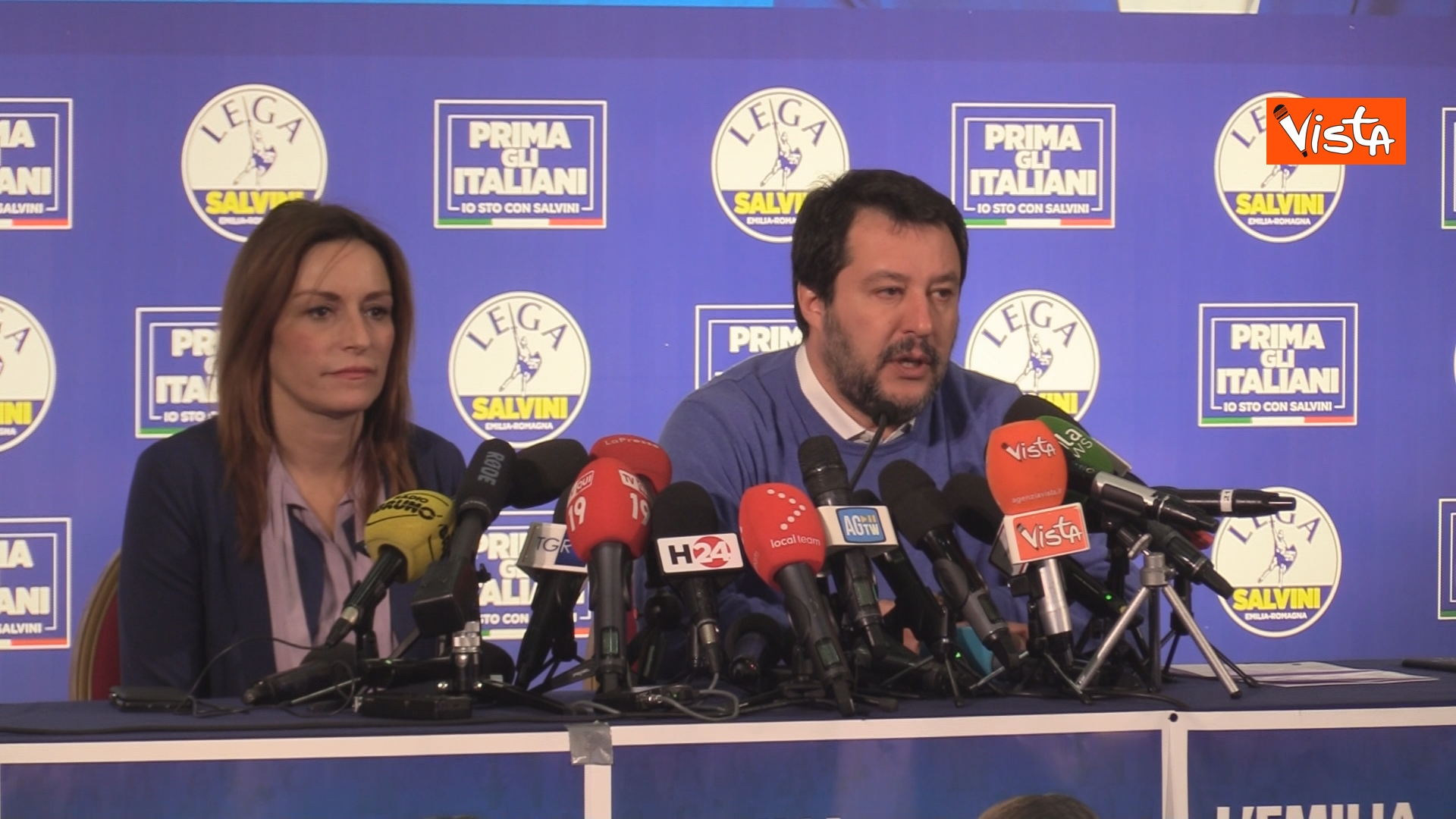 27-01-20 Salvini e Borgonzoni in conferenza stampa sul risultato del voto in Emilia-Romagna, le immagini