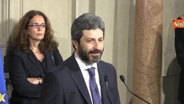 7 - Roberto Fico e il segretario generale del Quirinale Ugo Zampetti dichiarano al termine delle Consultazioni
