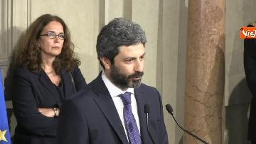 8 - Roberto Fico e il segretario generale del Quirinale Ugo Zampetti dichiarano al termine delle Consultazioni