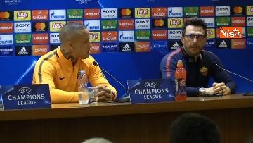 2 - Roma Liverpool la conferenza stampa di Eusebio Di Francesco e Radja Nainggolan
