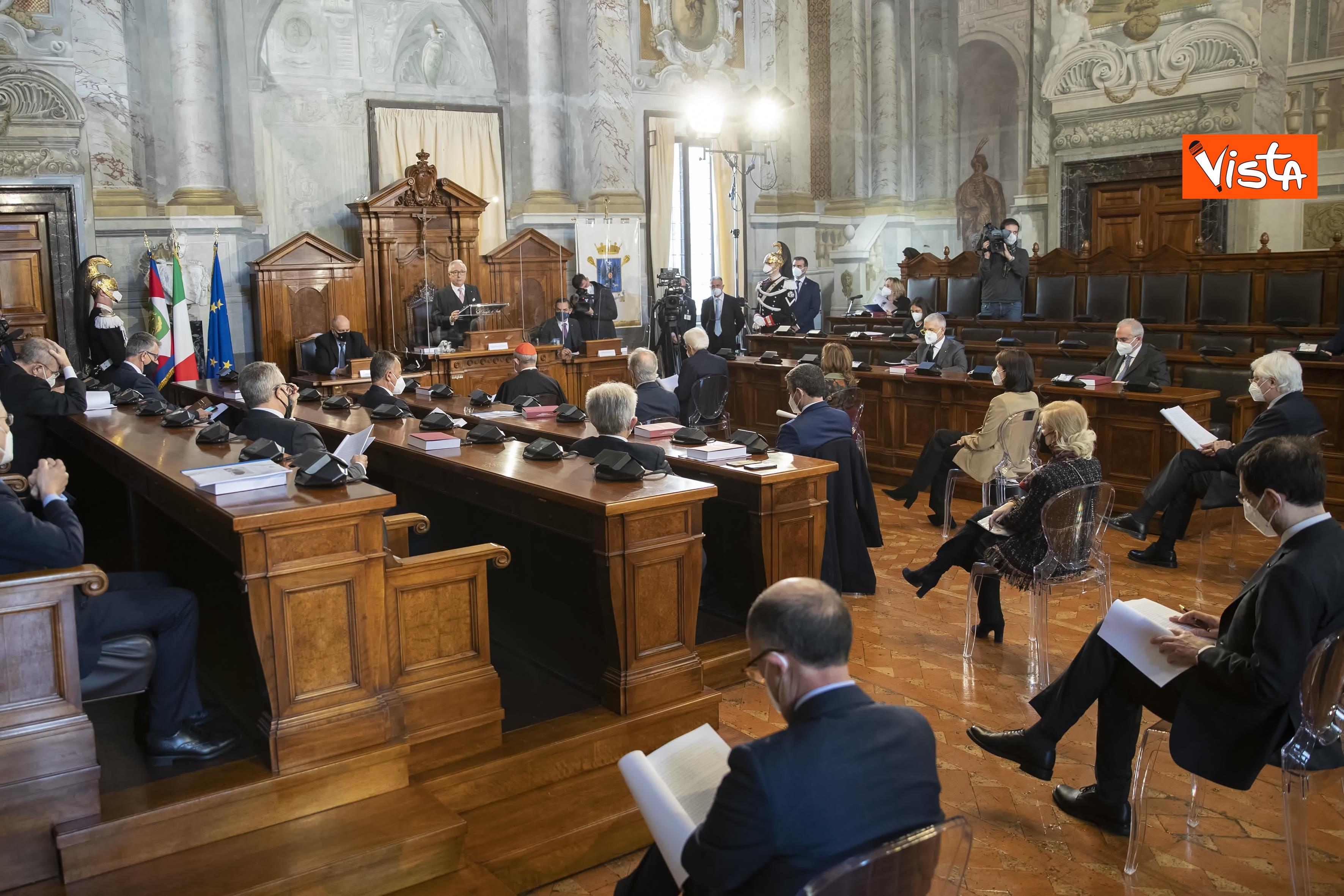 Il Presidente della Repubblica Sergio Mattarella in occasione della cerimonia di presentazione della Relazione 2020