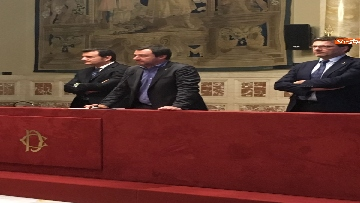 13 - 24-05-18 Consultazioni, la delegazione della Lega con Salvini, Giorgetti, Centinaio