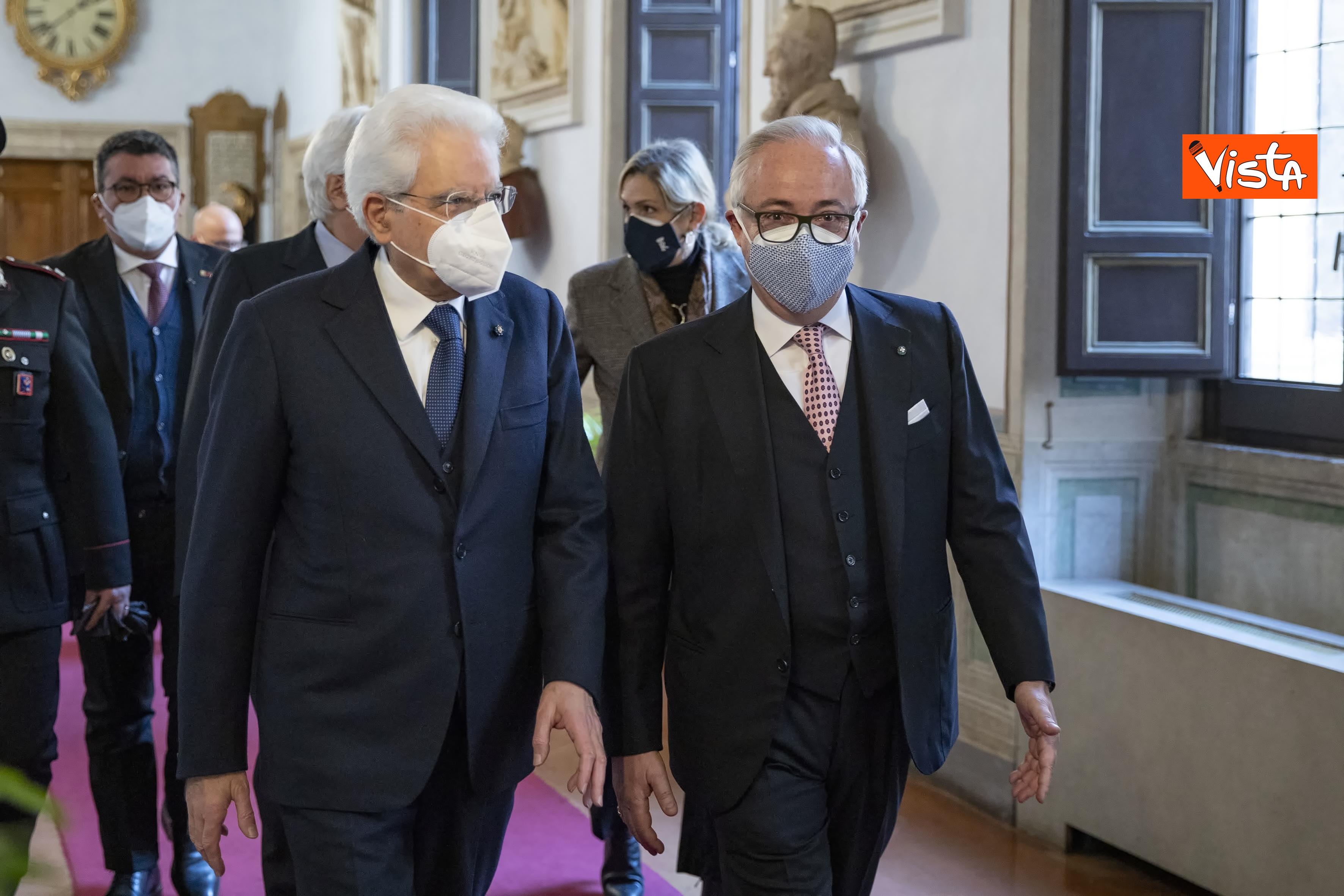 Il Presidente Sergio Mattarella con Filippo Patroni Griffi,Presidente del Consiglio di Stato,in occasione della cerimonia di presentazione della Relazione 2020