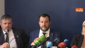 3 - Salvini, Le Pen in conferenza con il segretario UGL Capone